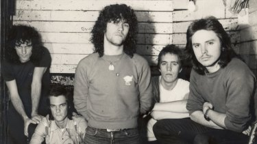 Cold Chisel in 1978: Ian Moss (left), Don Walker, Jimmy Barnes, Steve Prestwich and Phil Small.