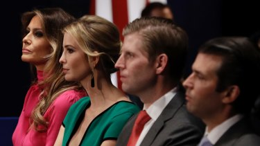 Melania Trump with Ivanka Trump, Eric Trump and Donald Trump Jr, who some foreign businesses and leaders will want to cozy up to.