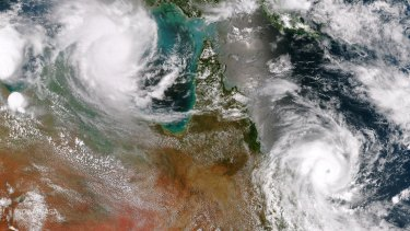 Tropical cyclones Lam and Marcia over Australia in February 2015 in imagery supplied from the US.