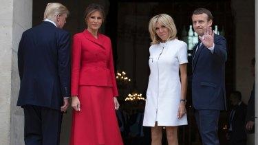 Emmanuel Macron, his wife Brigitte, welcome Donald Trump and Melania in Paris.