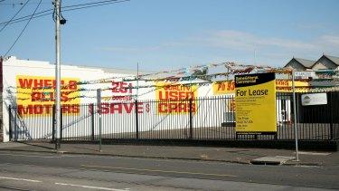 The Coburg car yard and potential multi-million dollar apartment development site.