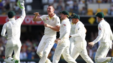Finding his groove: Australia and Josh Hazlewood celebrate his dismissal of James Vince for 2 runs.