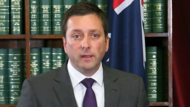 Matthew Guy at his hastily arranged afternoon press conference.