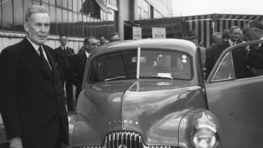 Then prime minister Ben Chifley in 1948, with the Holden generally known as the  FX.