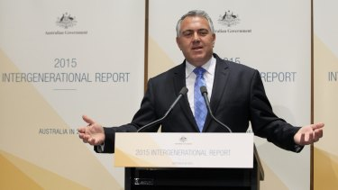 Change in the view of climate: Treasurer Joe Hockey delivers the 2015 Intergenerational Report.