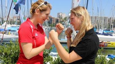 Friendly rivalry: sisters Caroline, left, and Leo Bowen.