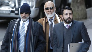 Mamdouh Elomar, left, and his brother Ibrahim Elomar, centre, arrive at the Supreme Court for a bail hearing on Tuesday.