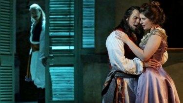 Andrew Jones (left) as Guglielmo, David Portillo as Ferrando and Nicole Car as Fiordiligi in Opera Australia's <i>Cosi Fan Tutte</i>.