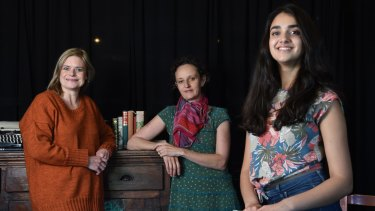From left: Jane Phegan, Kym Vercoe and Geraldine Viswanathan, appearing in <i>Invisible Circus</i>.