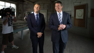 NSW Premier Mike Baird, right, and Planning Minister Rob Stokes at White Bay Power Station.