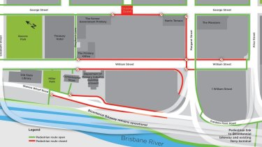 Road and footpath closures in inner-city Brisbane from Sunday, January 1.