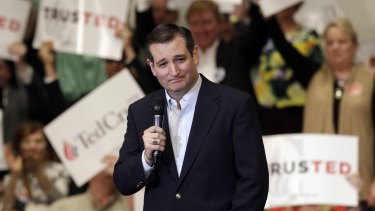 Republican presidential candidate senator Ted Cruz at a campaign rally in Kannapolis, North Carolina, on Tuesday.