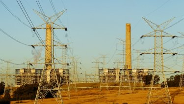 High voltage transmission lines running from Liddell Power Station, a coal-fired poewr station slated for closure in a little over five years