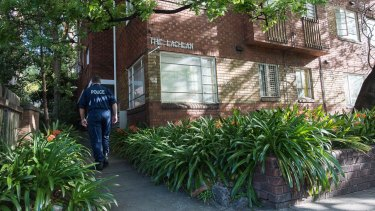 The Potts Point apartment was a crime scene on Thursday afternoon.