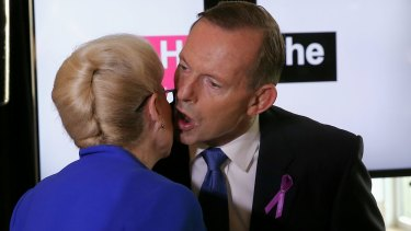 Prime Minister Tony Abbott greets Speaker Bronwyn Bishop at the UN Women breakfast at Parliament House in Canberra in March 2015.