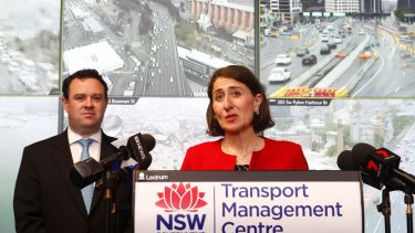 Premier Gladys Berejiklian and WestConnex Minister Stuart Ayres announce the rebate on Monday.