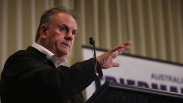 Former Labor Opposition Leader Mark Latham addresses a crowd recently.