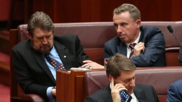 Senator Derryn Hinch is nudged by Kevin Hogan during the opening of the 45th Parliament at Parliament House in August.