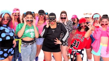 Parris Goebel (in black, at centre) in Justin Bieber's Sorry video, which she directed and choreographed – and which has had more than two billion YouTube views.