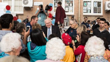 Former PM John Howard attends the 100th anniversary of his former primary school Earlwood Public School.