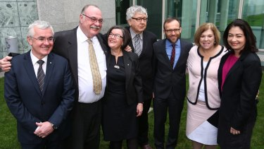 Warren Entsch with other MPs after he introduced a private member's bill on marriage equality with co-sponsers Andrew Wilkie, Cathy McGowan, Laurie Ferguson, Adam Bandt, Teresa Gambaro and Terri Butler.