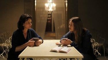 Juliette Binoche and Lou de Laage in <i>The Wait</i>.