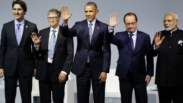 From the left, Canadian Prime Minister Justin Trudeau, Microsoft CEO Bill Gates, US President Barack Obama, French President Francois Hollande and Indian Prime Minister Narendra Modi.