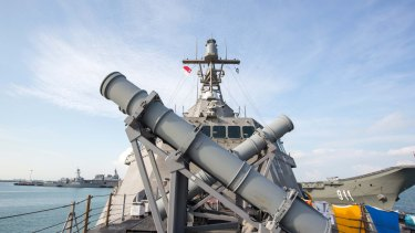 Missile launchers stand on the deck of the US Navy's USS Coronado littoral combat ship.