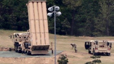 A US missile defence system called Terminal High Altitude Area Defense, or THAAD, is installed at a golf course in Seongju, South Korea.