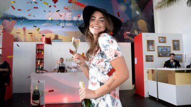Showtime: Bambi Northwood-Blyth inside Mumm marquee at Flemington.