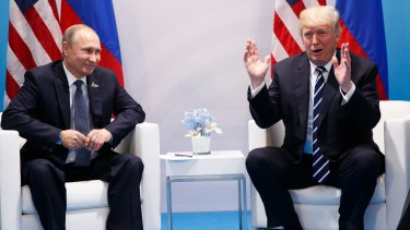 President Donald Trump speaks during a meeting with Russian President Vladimir Putin at the G20 on Friday.