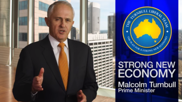Prime Minister Malcolm Turnbull appears in a Coalition TV ad.