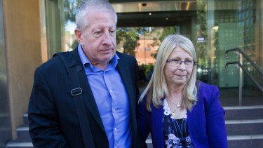 Matthew Leveson's parents, Faye and Mark Leveson, outside the Coroner's Court last year.