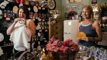 Nicola (left) and Jaclyn Moriarty at Coco Chocolate, Kirribilli, where Jaci often comes to write.