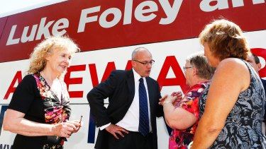 """""""There's an appetite for change"""": Mr Foley talks with locals during the Country Labor Campaign launch in Singleton."""