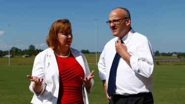 Mr Foley talks to Labor candidate for Maitland Jenny Aitchison.
