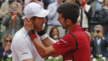 Andy Murray congratulates Novak Djokovic.