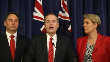 Labor immigration spokesman Richard Marles, Opposition Leader Bill Shorten and Deputy Opposition Leader Tanya Plibersek on Monday.