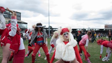 What the? Crowds loved the over the top cheerleaders for the Megahertz team at the Reclink Community Cup.