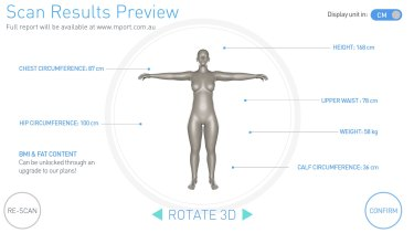 A screenshot of what users can see in the mPod 3D body scanner.