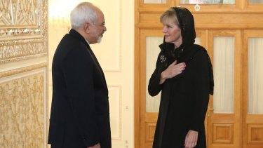 Foreign Affairs Minister Julie Bishop meets with Iran Foreign Affairs Minister Dr Mohammad Javad Zarif in Tehran last year.