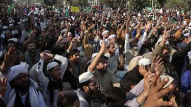 Supporters of religious groups rally to express solidarity with protesters block main highway Islamabad.