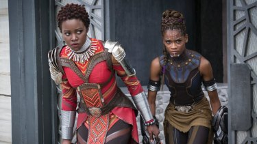 Women warriors in Marvel's Black Panther (from left): Nakia (Lupita Nyong'o) and Shuri (Letitia Wright).
