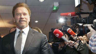 Arnold Schwarzenegger arrives at the climate change conference in Le Bourget, north of Paris.