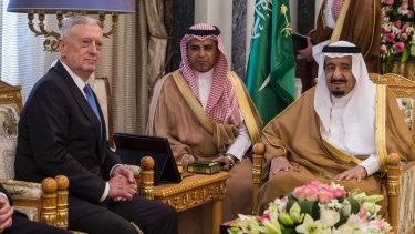 US Defence Secretary Jim Mattis during a meeting with King Salman (right)  in Riyadh, Saudi Arabia, in April.