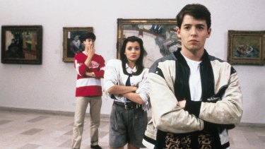 Alan Ruck as Cameron, Mia Sara as Sloane Peterson and Matthew Broderick as Ferris in John Hughes' Ferris Bueller's Day Off.