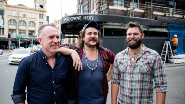 Food, music and big dreams for the new owners of the Lansdowne Hotel: Jake Smyth, centre, and Kenny Graham, right, with their live music booker Matt Rule.
