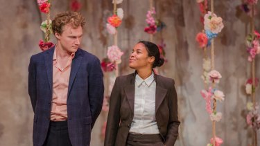 Charlie Garber (left), and Zahra Newman star in this 'incoherent' production of Bell Shakespeare's <i>As You Like It</i>.