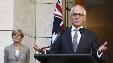 New look: Prime Minister Malcolm Turnbull with Foreign Minister Julie Bishop.