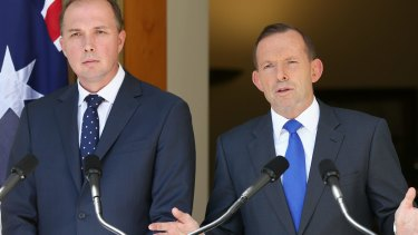 Cracking down on illegal bikies: new Immigration Minister Peter Dutton, left.